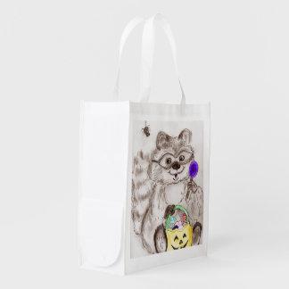 Glücklicher Halloween-Waschbär Wiederverwendbare Einkaufstasche