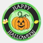 Glücklicher Halloweenkürbis-u. Runder Aufkleber