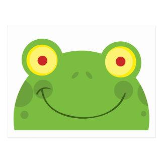 Glücklicher Hauptfrosch-Cartoon-Charakter Postkarte