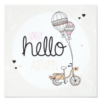 Glücklicher Herbstpostkartenentwurf Quadratische 13,3 Cm Einladungskarte