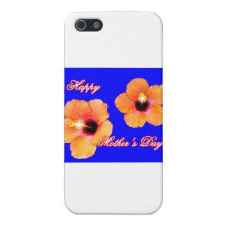 Glücklicher Hibiskus-orange Blau BG der Mutter Tag iPhone 5 Schutzhülle