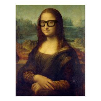 Glücklicher Hipster Mona Lisa in den coolen Postkarte