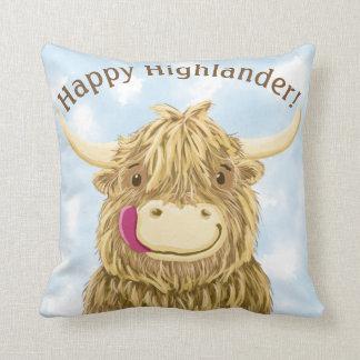 Glücklicher Hochländer-schottische Hochland-Kuh Kissen