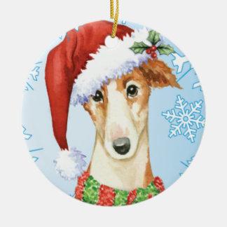 Glücklicher Howliday Borzoi Keramik Ornament