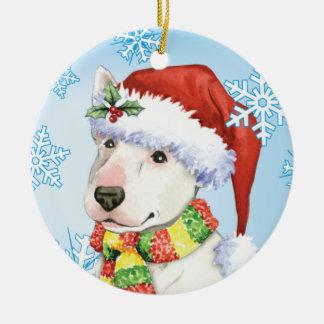 Glücklicher Howliday Bullterrier Keramik Ornament
