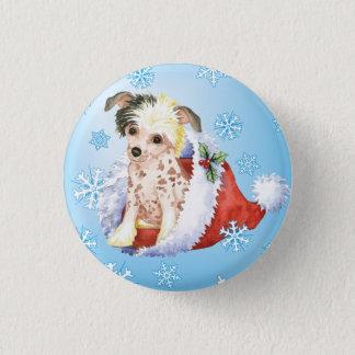 Glücklicher Howliday Chinese Crested Runder Button 3,2 Cm