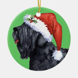 Glücklicher Howliday schwarzer Russe Terrier Keramik Ornament