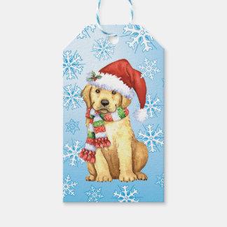 Glücklicher Howlidays gelber Labrador Geschenkanhänger