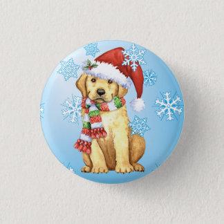 Glücklicher Howlidays gelber Labrador Runder Button 3,2 Cm