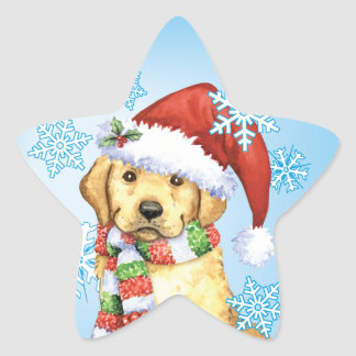 Glücklicher Howlidays gelber Labrador Stern-Aufkleber