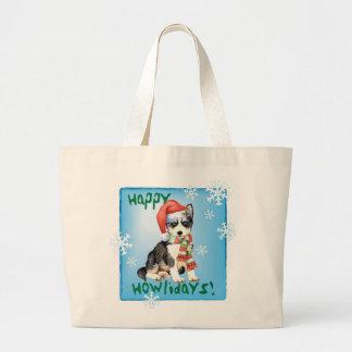 Glücklicher Howlidays Schlittenhund Jumbo Stoffbeutel