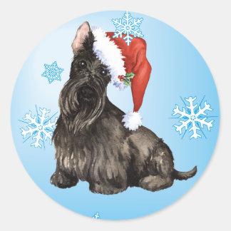 Glücklicher Howlidays Scottish Terrier Runder Aufkleber