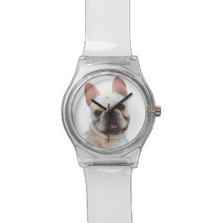Glücklicher Hund der französischen Bulldogge Uhr