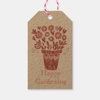 Glücklicher im Garten arbeitenFlowerpot Geschenkanhänger