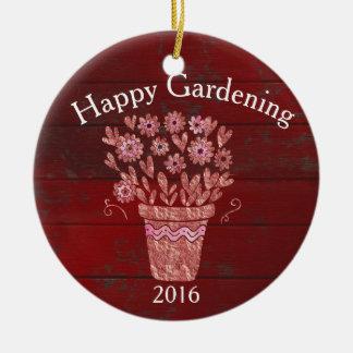 Glücklicher im Garten arbeitenweihnachtswunsch Rundes Keramik Ornament
