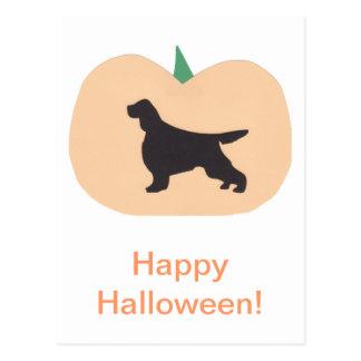 Glücklicher Irischer Setter Halloweens Postkarte