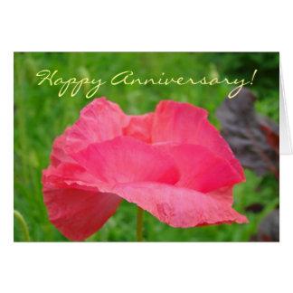 Glücklicher Jahrestag! Gruß-Karten-rosa Mohnblume