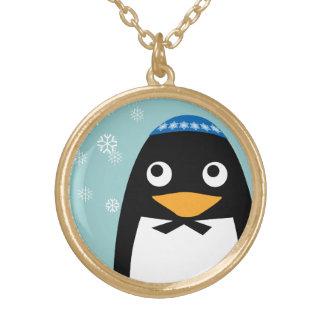 Glücklicher jüdischer PinguinYarmulke Chanukkas Vergoldete Kette