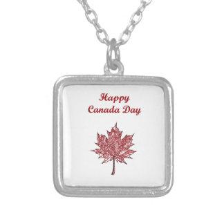 Glücklicher Kanada-Tag Halskette Mit Quadratischem Anhänger
