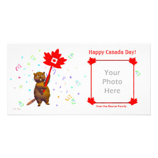 Glücklicher Kanada-Tagesbiber Fotokartenvorlagen