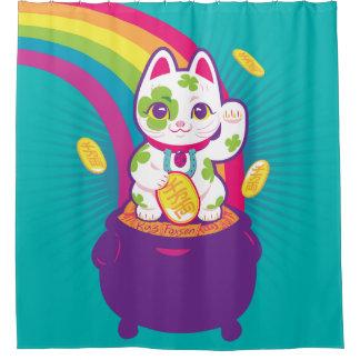 Glücklicher Katze Maneki Neko viel Glück-Topf Gold Duschvorhang