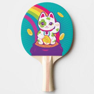 Glücklicher Katze Maneki Neko viel Glück-Topf Gold Tischtennis Schläger