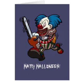 Glücklicher Kettensägen-Clown-Cartoon Halloweens Karte