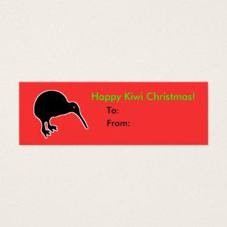 Glücklicher Kiwi-Weihnachtsgeschenk-Geschenk-Umbau Mini Visitenkarte