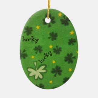 Glücklicher Klee Keramik Ornament