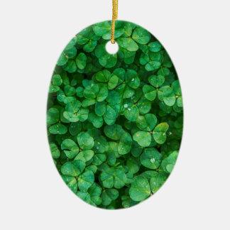 Glücklicher Klee St Patrick Ovales Keramik Ornament