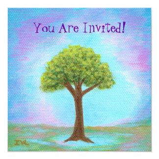 Glücklicher kleiner Baum-wunderliches Quadratische 13,3 Cm Einladungskarte