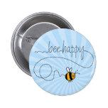 glücklicher Knopf der Biene Hinter Anstecknadelbutton