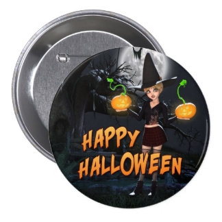 Glücklicher Knopf Halloweens Skye Runder Button 7,6 Cm