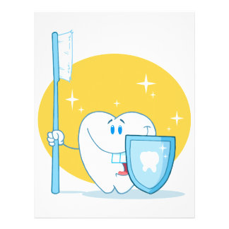 Glücklicher lächelnder Zahn mit Zahnbürste und Sch Bedruckte Flyer