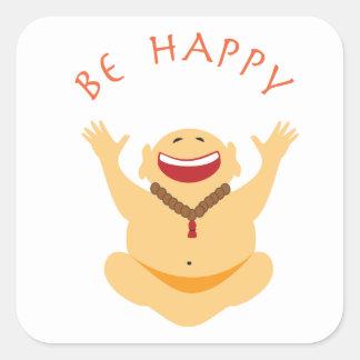 Glücklicher lachender Buddha Quadratischer Aufkleber