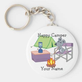 Glücklicher Lagerbewohner-personalisierte Schlüsselanhänger