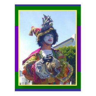 Glücklicher Mardis Gras Clown Postkarte