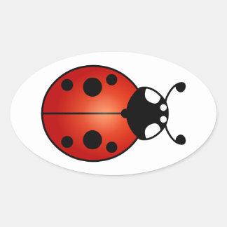 Glücklicher Marienkäfer-Marienkäfer-Käfer Ovaler Aufkleber