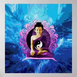 Glücklicher meditierender Buddha Poster