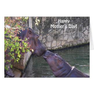 Glücklicher Mutter-Tag mit Flusspferden Karte