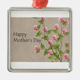 Glücklicher Mutter-Tag Quadratisches Silberfarbenes Ornament