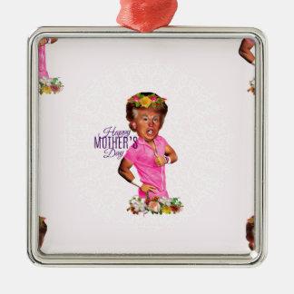 glücklicher MuttertagesTrumpf Quadratisches Silberfarbenes Ornament