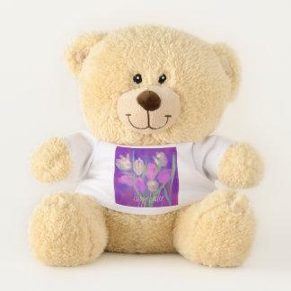 Glücklicher Ostern-Blumenstrauß Teddybär