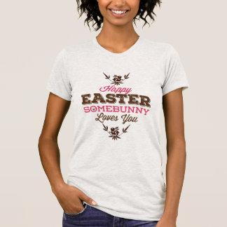 Glücklicher Ostern-Fanny Text T-Shirt