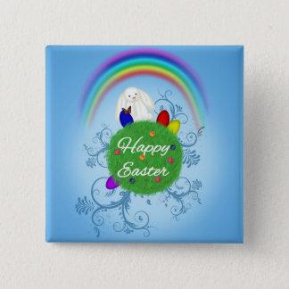 Glücklicher Ostern-Planet - Knopf Quadratischer Button 5,1 Cm