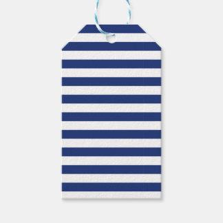 Glücklicher Punkt-blaue und weiße Streifen Geschenkanhänger