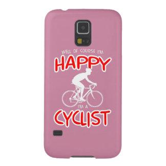 Glücklicher Radfahrer (weiß) Galaxy S5 Hülle