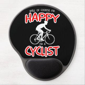 Glücklicher Radfahrer (weiß) Gel Mousepad