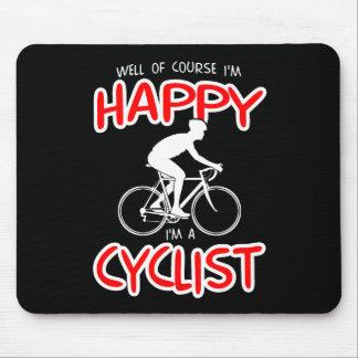Glücklicher Radfahrer (weiß) Mousepad