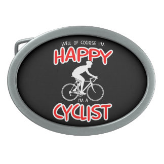 Glücklicher Radfahrer (weiß) Ovale Gürtelschnallen